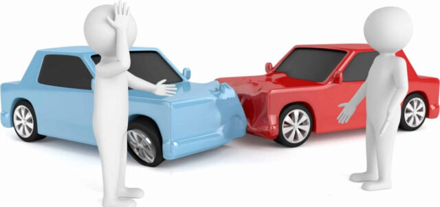 交通事故に遭い相手とトラブルになるイラスト